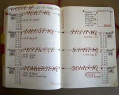 Bullet Journal weekly spread Woche 12