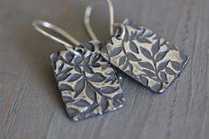 Sterling silver embossed botanical earrings,  Bohemian style casual earrings.