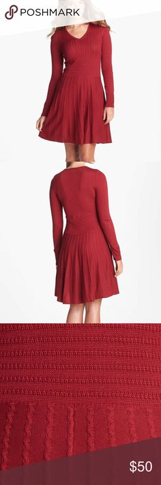 NWOT Fit & Flare Sweater Dress Unlined • 100% Acrylic • Dry Clean • Pair this cable-know sweater- dress with your favorite boots, fall is almost here! • A-line skirt with a feminine silhouette • NWOT Vince Camuto Dresses Midi