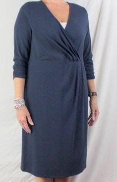 Lands End Dress 14W 0x size Size Navy Blue Cross Over Neckline Easy Wear Comfort #LandsEnd #Sheath #Casual