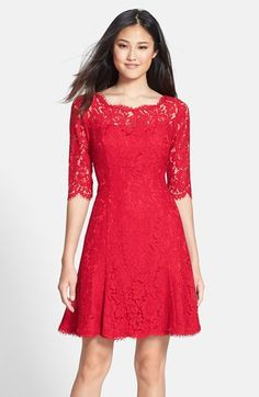 Free shipping and returns on Eliza J Lace Tulip Dress (Regular & Petite) at Nordstrom.com. Lovely floral lace with scalloped edges brings romantic charm to a bateau-neck dress styled with a flouncy skirt to twirl over the dance floor. Peekaboo sheerness at the yoke and three-quarter sleeves adds an alluring touch.