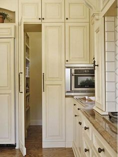 Taking a cue from integrated appliances, this pair of pantry doors blends in with the cabinets when closed.