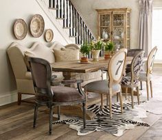 All About Vignettes: Design Musings--Sofa in the Dining Room