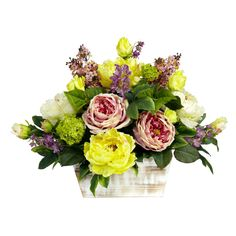 Mixed Floral w/White Wash Planter Silk Arrangement