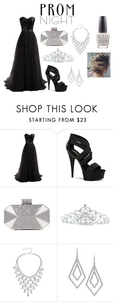 """""""The perfect prom night."""" by stellafalls ❤ liked on Polyvore featuring Pleaser, Halston Heritage, Kate Marie, ABS by Allen Schwartz and OPI"""