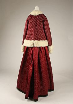 Skating ensemble Date: 1863–67 Culture: British Medium: (a) silk, fur; (b) silk Dimensions: Length at CB (a): 27 in. (68.6 cm) Length at CB (b): 45 in. (114.3 cm) Credit Line: Purchase, Friends of The Costume Institute Gifts, 1980 Accession Number: 1980.72.1a, b