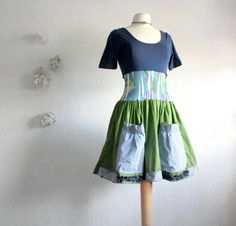 Women's Upcycled Dress Navy Blue Green Boho Clothing Hippie Clothes 50's Anthropologie Small Medium 'NOELLA'