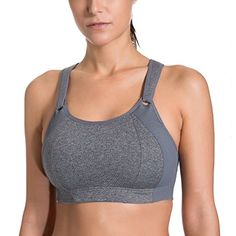 SYROKAN Womens Front Adjustable Lightly Padded Racerback High Impact Sports Bra Grey ** Click image to assess even more details. (This is an affiliate link). Full Body Swimsuit, Bh Tops, Best Sports Bras, Racerback Sports Bra, Lingerie Collection, Bra Lingerie, Active Wear For Women, Sport Wear, Comfortable Fashion