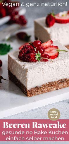 Gesunde Rohkostkuchen einfach selber machen mit diesem tollen Grundrezept. Super Variabel, lecker, vegan, zuckerfrei. Einfach gesunde No bake Kuchen. Torten ohne Backen von @happymoodfood #nobake #rohkostkuchen Vegan Sweets, Vegan Desserts, Raw Food Recipes, Vegan Blogs, Raw Vegan, No Bake Cake, Dairy Free, Sweet Tooth, Cheesecake
