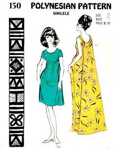 03c1ba24 Vintage 70's Muu Muu Wailele Dress Pattern by VintageNeedleFinds Pattern  Grading, Muumuu, Party Costumes