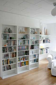 possible solution for DVD storage - the shelves are DVD width (from the Ikea Besta line)