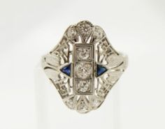 Vintage 1920s Art Deco Diamond Sapphire 14k White Gold Filigree Ladies Ring | eBay