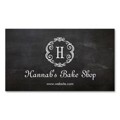 Cute Monogram Pastry Chef Bakery Chalkboard Pack Of Standard Business Cards