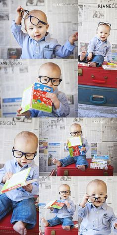 Baby Books Glasses Newspaper Background - Nine Month Baby Milestone Session #kjanedesigns - www.kjanedesigns.com