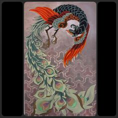 Japanese Phoenix, acrylic on paper. Davide Scardellato.