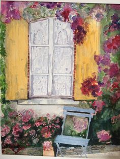 "L.M.Hickcox Watercolor Art ""Window Lace"" won ""Honorable Mention"" Ribbon in 2015"