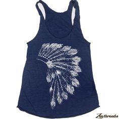 Womens Native American HEADDRESS american apparel Tri-Blend Racerback Tank Top S M L (8 Color Options) on Etsy, $19.00
