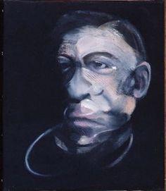 """Francis BACON, """"Portrait de Jacques Dupin"""", 1990 - Huile sur toile, 35,5 x 30,5 cm, Paris, Centre national des arts plastiques, Fonds national d'art contemporain, en dépôt au musée de Picardie, Amiens"""