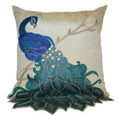 Fancy Peacock 16 by 16-Inch Pillow
