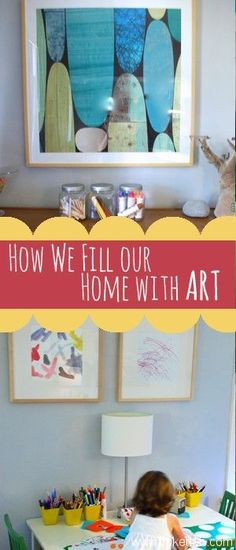 What do you have on the walls of your home? Do you have trouble picking pieces or does it come naturally to you? Pop over to swap ideas and get some inspiration. #home #art #walls #kids