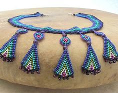 Seed Bead Pendant Necklace Blue Petals Native by HANWImedicineArt