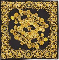 Versace Black Medallion Chain Link Silk Scarf