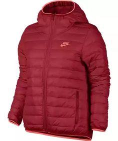 Nike W nsw dwn fll jkt hd L UNIVERSITY RED/BRIGHT MANGO