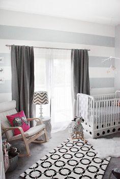Love  Lace: Nursery Reveal. Painted wall stripes, valspar gravity paint, woodland nursery theme, black  white pattern, gilded, chevron, jenny lind crib