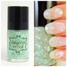 Minty Twilight Nail Polish - Mint Stars, White & Holographic Glitter #nailpolish #glitter