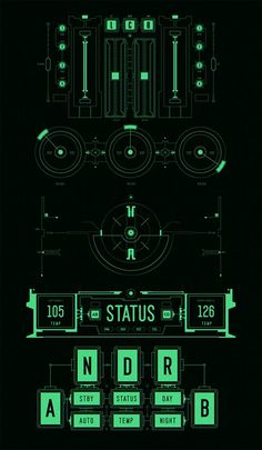 Mech UI by Bao Nguyen, via Behance UI, display, computer, readout, system status: