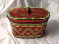 Unusual DECORATIVE TIN BOX with Finial Lid, French Chic - Oval Shape, embossed graphics gold and red ,shabby cottage charm