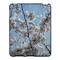 'SPRINGTIME BLOSSOMS' iPAD CASE, by The Flying pig Gallery on Zazzle (lizadeyphoto) - This iPad case features pretty white springtime cherry blossoms against a soft blue background for a fresh, feminine look.