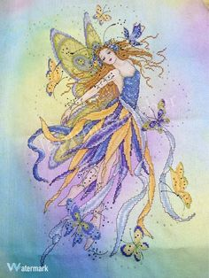 Post with 0 votes and 46 views. Butterfly Fairy by Joan Elliott Cross Stitching, Cross Stitch Embroidery, Butterfly Fairy, Crossstitch, Sewing, Crochet Ideas, Crafts, Internet, Painting