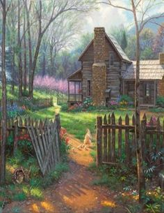Old Farm House Painting..So Sweet The Deer By The Gate. This reminds me of the house on the back road to Aunty Myra's old place...