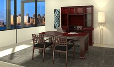 Looking for something on the traditional and professional side for your office? Monarch Office Furniture has Cherryman! Featured in this picture is the Emerald Line. It consists of desks, returns/bridges, bridge/knee-space credenzas, pedestals, hutches, door storage, bookcases, lateral files, conference tables, presentation boards and accessories.  Contact us for more information and to schedule an appointment today! 972-314-9333