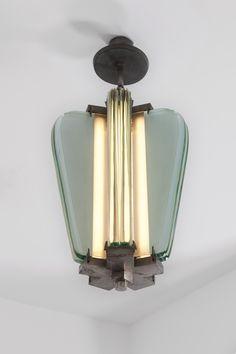 Pietro Chiesa; Glass and Nickeled Brass Ceiling Light for Fontana Arte, c1935