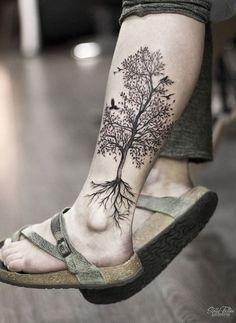 A black tree tattoo on the left calf by Stella Tree Leg Tattoo, Calf Tattoo, Grey Tattoo, I Tattoo, Life Tree Tattoo, Hippy Tattoo, Celtic Tree Tattoos, Abdomen Tattoo, Ankle Tattoo