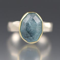 SALE 20% OFF  Rose Cut Aquamarine Chiseled Ring by daniellejewelry