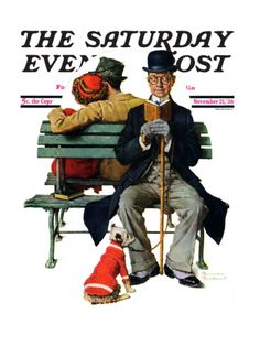Overheard Lovers (man on park bench) Saturday Evening Post Cover, November 21,1936 Giclee Print by Norman Rockwell