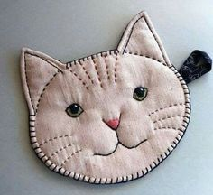 Items similar to Handmade: Cat Face Pot Holder with Embroidery and Cat Print Backing on Etsy Vintage Embroidery, Embroidery Patterns, Hand Embroidery, Quilt Patterns, Sewing Patterns, Apron Patterns, Fabric Crafts, Sewing Crafts, Sewing Projects
