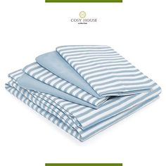 Bamboo Bed Sheet Sets with Stripes by Cosy House Silky Soft Rayon and Microfiber Blend Bedding with Deep Pockets Wrinkle and Odor Free Set Hypoallergenic Queen Royal Blue *** Be sure to check out this awesome product. Most Comfortable Bed Sheets, Cosy House, Striped Bedding, Master Room, House Beds, Bed Sheet Sets, Flat Sheets, Bedding Sets, Pillow Cases