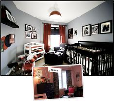 rock star baby room... a little to busy but i like the idea!