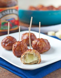 Cheese Stuffed Apple Chicken Meatballs {Slow-Cooker friendly}