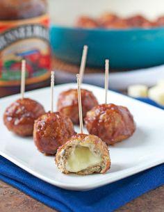 Cheese Stuffed Apple Chicken Meatballs {Slow-Cooker friendly}