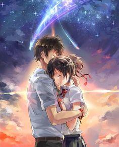 Your Name ~ 君の名は ~ Kimi no na wa 😍 Manga Anime, Film Manga, Film Anime, Manga Art, Anime Pokemon, Kawaii Anime, Anime Love Couple, Cute Anime Couples, Anime Couples Hugging