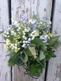Mini bouquet of forget me nots and lily of the valley