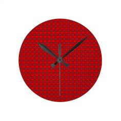Red Add Text Wall Clocks!  #zazzle #store #pattern #gift #present #customize #simple http://www.zazzle.com/patternsbydww25921*
