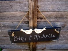 Two Love Birds Hanging Chalkboard Engagement Wedding Signs Photo Prop Elegant Indoor Outdoor Country Cottage Woodland Chic Farmhouse. $27.99, via Etsy.