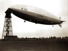 The R101 at the mooring mast at Cardington before making a trial flight following modifications, carried out during the summer after the airship's early trials in 1929 and the spring of 1930 - UK - 1 October 1930