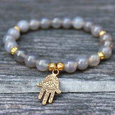 Yoga Bracelet Grey Agate Hamsa Hand Wrist Mala, Grey Bracelet, Hamsa Hand Bracelet, Yoga Jewelry, Healing Stone, Mala Beads, Yoga